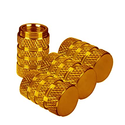 Bike Or Motorbike Valves. Gold Set Of 4 Fits Onto Car ARH Auto Accessories Barrel Dust Caps