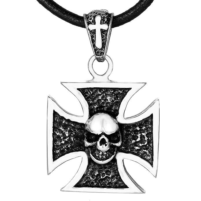 Nr.100 Eisernes Kreuz Ketten Anhänger Edelstahl Iron Cross Tempelritter Biker