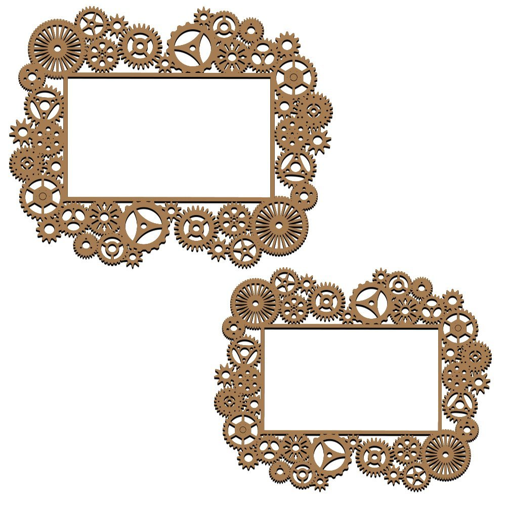 Creative Embellishments Steampunk Gear Frames Laser Cut Chipboard - 2 piece set