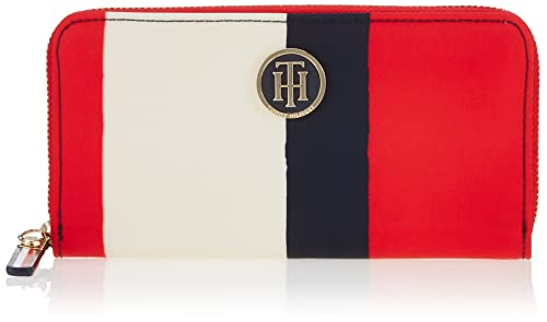 Tommy Hilfiger - Poppy Large Z/a Wallet Vertical Stripe, Carteras Mujer, Rot