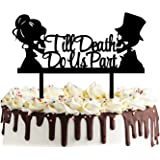Till Death Do Us Part Cake Topper- Acrylic Mr and Mrs Skull Wedding Cake Topper Halloween Party Decorations Day of the…