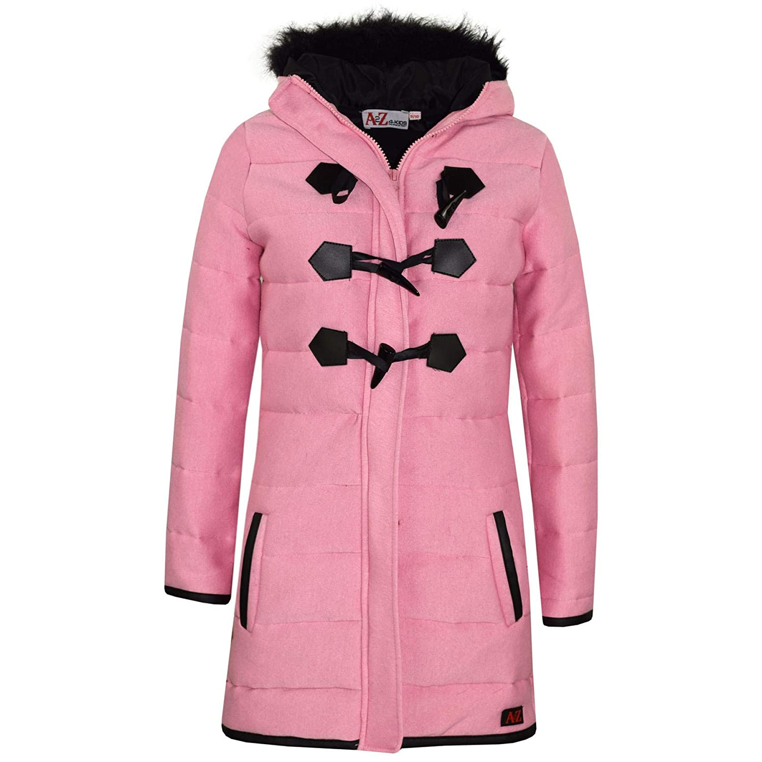 80401aae2a9 A2Z 4 Kids® Kids Coat Girls Fleece Parka Jacket Padded Long Faux Fur Hooded  Coats Age 3 4 5 6 7 8 9 10 11 12 13 Years