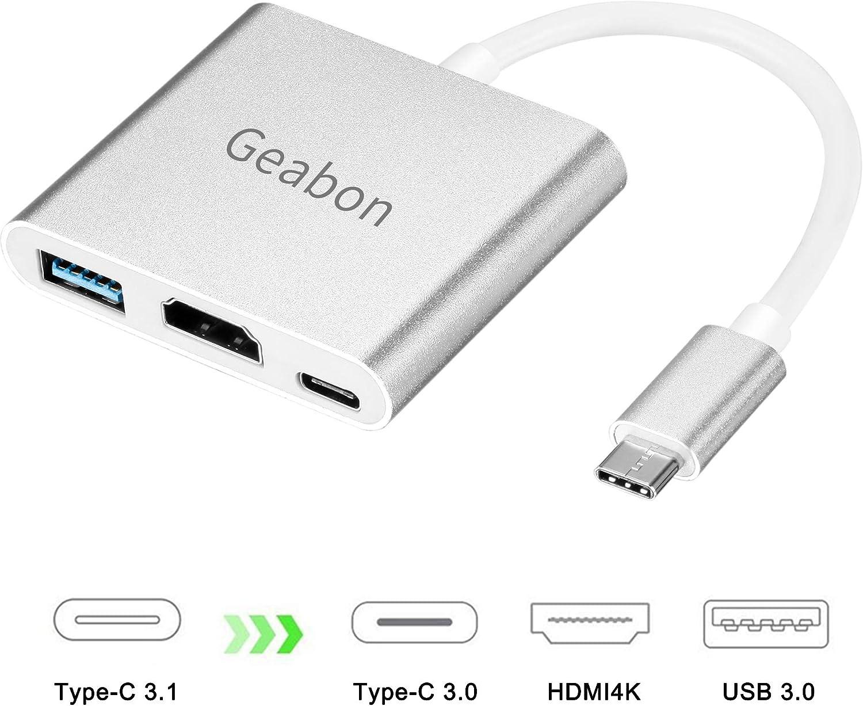 Geabon Adaptador USB C a HDMI 4K, Hub Adaptador tipo C HDMI Convertidor con puerto USB 3.0 y puerto de carga C USB Compatible con MacBook Pro iMac Chromebook Pixel/Dell/ Galaxy S9/S8/Note8/9: