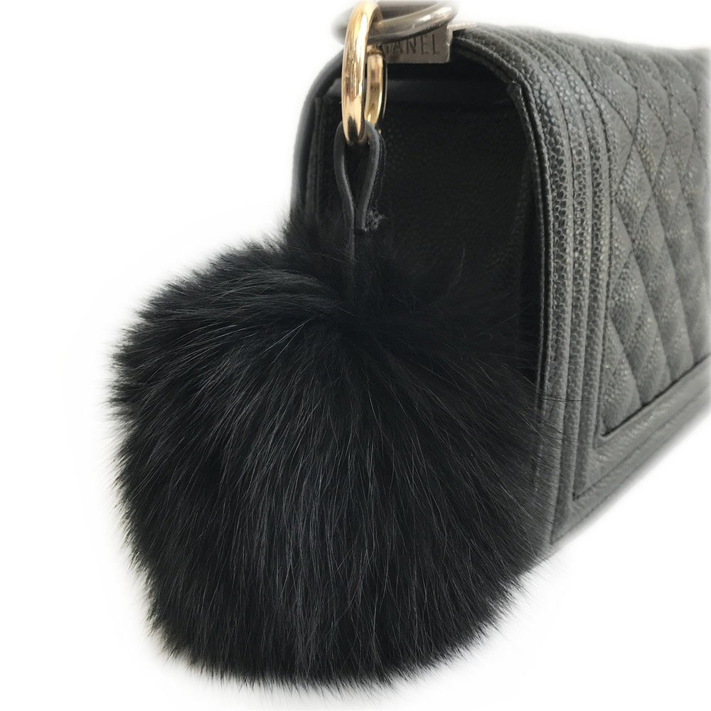 Black 10CM Real Fox Fur Pom pom Ball Handbag Charm Keychain Car Keyring