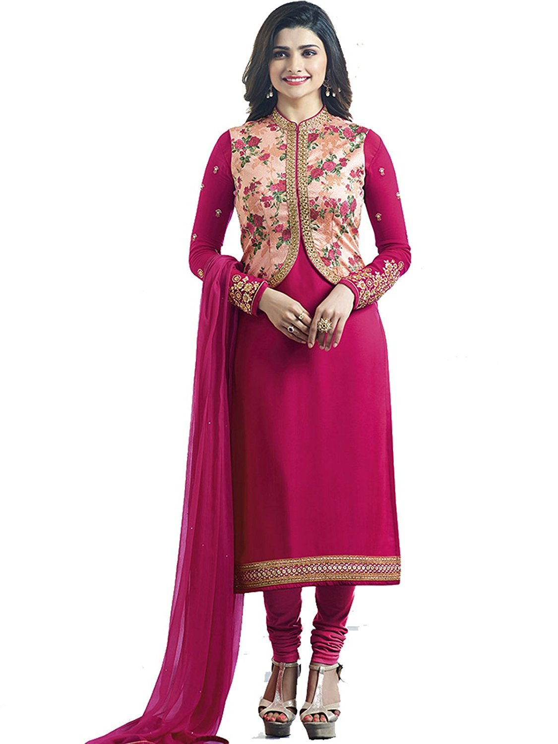 Ready Made Pink Georgette Embroidered India Pakistan Long Straight Churidar Salwar Suit With Elegnat Banglori Satin Jacket (Customize Stitched) by Laxminarayan