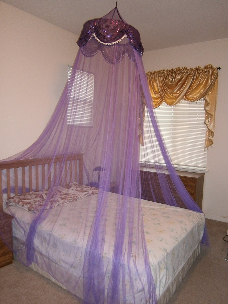 OctoRose Sequins Bed Canopy Mosquito Net for Bed, Dressing Room, Out Door Events (purple)