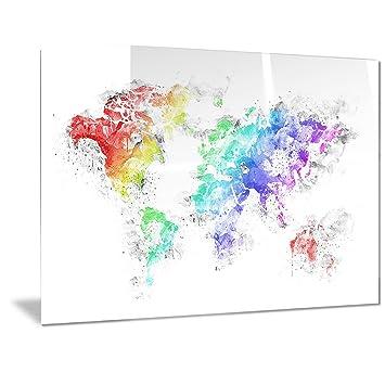 Amazon designart bright world map metal wall art mt2740 designart bright world map metal wall art mt2740 28x12 gumiabroncs Gallery