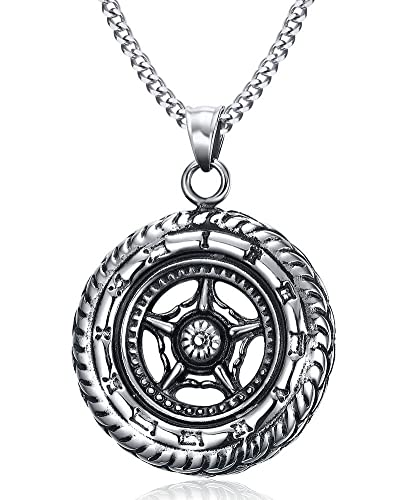 Amazon vnox stainless steel dharmachakra dharma wheel of law vnox stainless steel dharmachakra dharma wheel of law buddhist symbol pendant necklacefree chain 24quot aloadofball Gallery