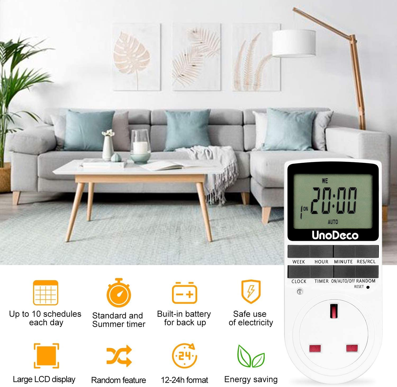Digital Timer Socket with Random and Summer Time 24//7 days UK Plug Energy Saving,Unodeco U001 Programmable Timer Plug with LCD Display