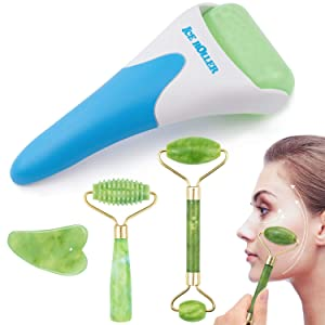 EAONE 4 in 1 Ice Roller Jade Roller Eyes Facial Massage Kits Cold Freezer Therapy Instant Pain Relief Wrinkle Preventing Coolers Skin Roller for Face & Eye Neck Massage Mother's Day Gift