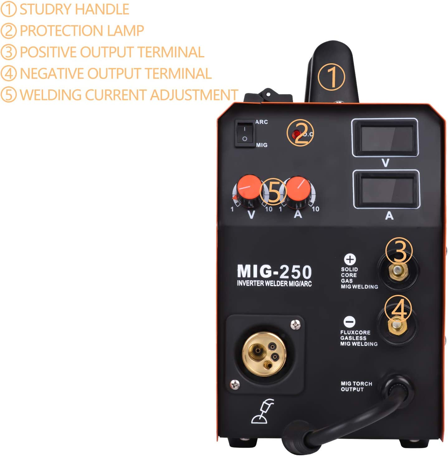 HZXVOGEN 220V DC MIG Welder 180A Gas Gasless Arc Lift Tig Mig MAG MMA Stick Inverter Flux Core//Solid Wire Portable 3 in 1 Welding Machine Model:MIG185
