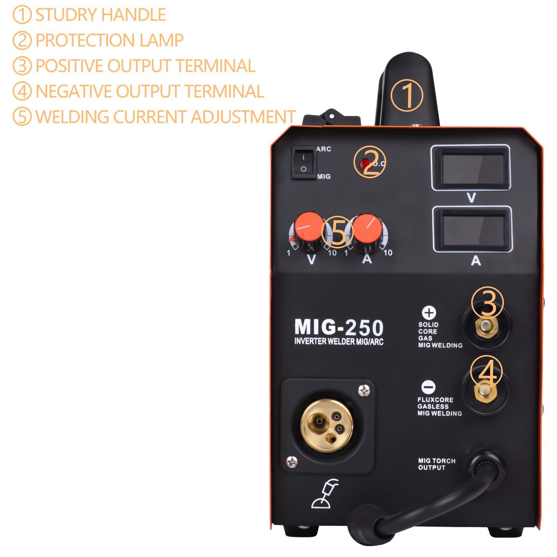 HITBOX Nueva llegada Soldadora MIG250 MIG TIG ARCO Máquina de soldadura Gas Gasless Soldadora 220 V Máquina de soldadura Mig 3 en 1: Amazon.es: Bricolaje y ...