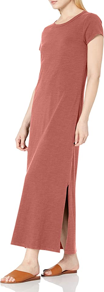 Daily Ritual Women's Lived-in Cotton Relaxed-Fit Short-Sleeve Crewneck Maxi Dress