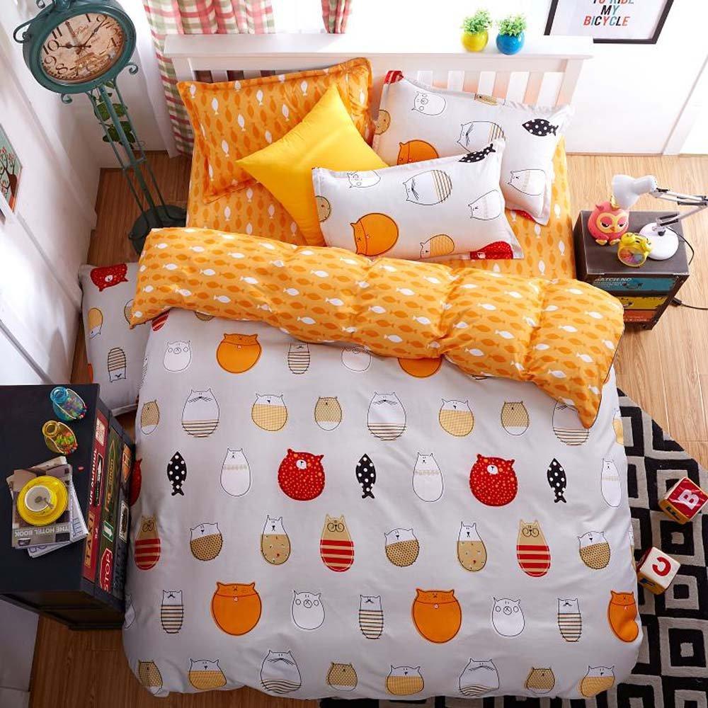 かわいい猫と魚可愛い犬とウサギオレンジNauticalシンボル美しいストーンフラットシート布団カバー枕カバー4ピースシートセットBL _ g-015 クイーン BL067_QUEEN B0767BFDSP クイーン|Bl067 Bl067 クイーン