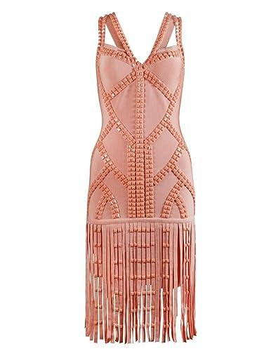 Meilun Womens Tassels Beads Strap Bandage Dress Party Club Dress
