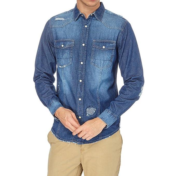 19ec4cb628 Smiling London Camisa de Jeans para Hombre  Amazon.es  Ropa y accesorios