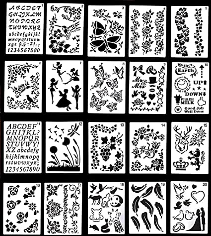 Borders 24 Templates Crafts Letters Diaries Scrapbooking Wanderings Bullet Journal Stencil Set Numbers Painting Patterns 4x7 Arts Shapes Reusable Plastic Stencils for Journaling