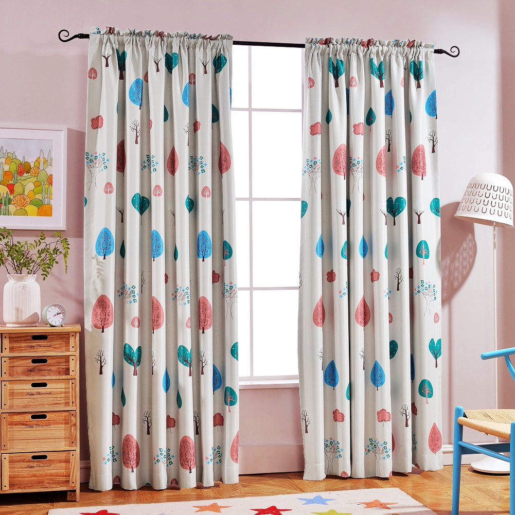 Melodieux Cartoon Trees Room Darkening Rod Pocket Curtains/Drapes for Kids Room, 52'' Wx84 L (1 Panel)