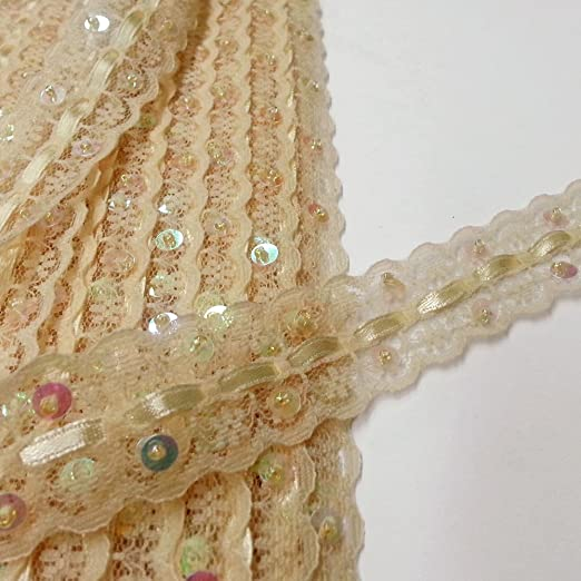 Beads 2 Yards and Sequins 2.5/'/' Embroidered Trim with Cording