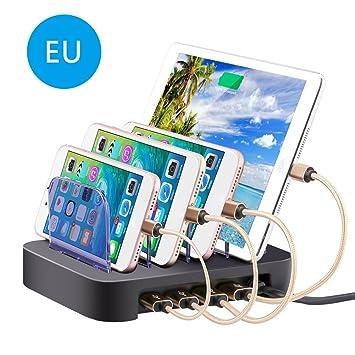 Prom-near Estación de Carga USB Innovador Base de Carga Cargador Universal Soporte de Carga USB 4 Puertos Cargador de Escritorio Universal para ...