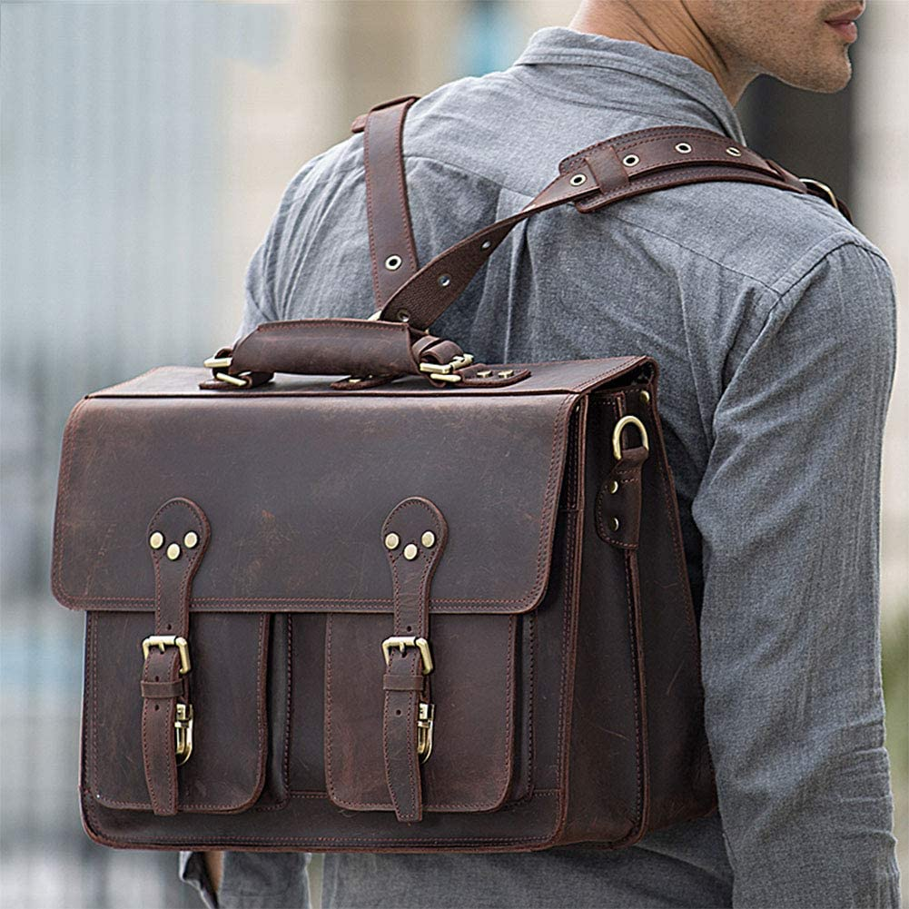 JBAG-one Genuine Leather Briefcases for Man 17 Inch Laptop File Tote Handbags Large Capacity Business Travel Shoulder Bag Brown
