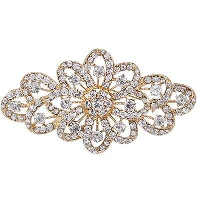 625cdbd5c070 Ever Faith austriacas de Cristal de Novia Elegant salpicadero Lazo Gema  Transparente Oro-Ton A11705-2  Amazon.es  Joyería