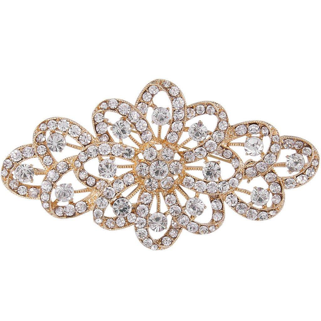 EVER FAITH 4 Inch Bridal Gold-Tone Flower Ribbon Brooch Clear Austrian Crystal by EVER FAITH