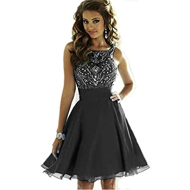 8666aa5a334 MEILISAY Women s Sparkly Beading Prom Dresses Short Homecoming Dresses 2018  for Juniors Black