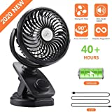 COMLIFE F170 Clip On Stroller Fan - Auto Oscillation Fan - 5000 mAh Battery Operated Fan, USB Desk Fan Stepless Speeds Control, Powerful Airflow for Camping, Office, Car
