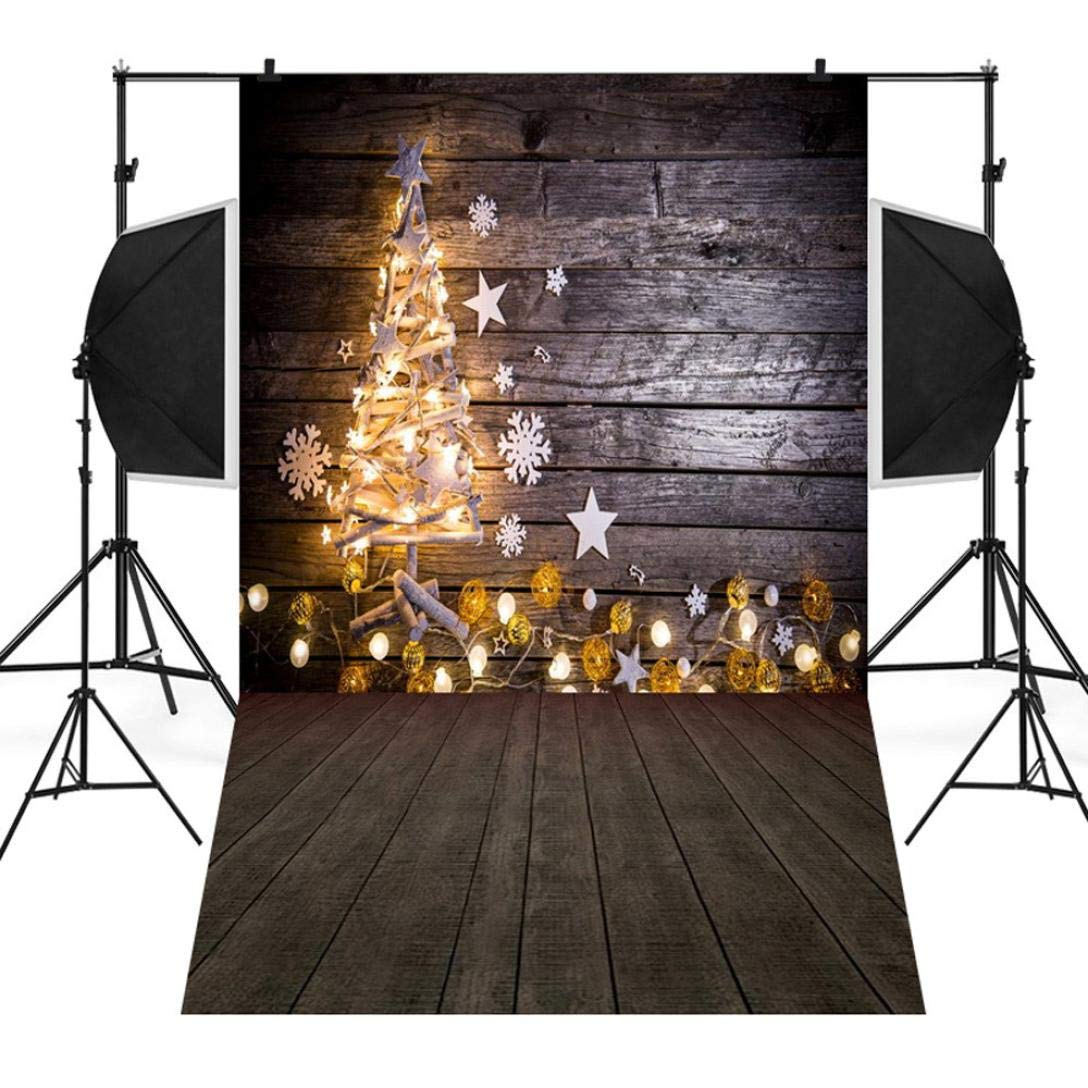 Unpara 2018 Christmas Tree Backdrops Vinyl 3x5FT Fireplace Background Photography Studio (A)