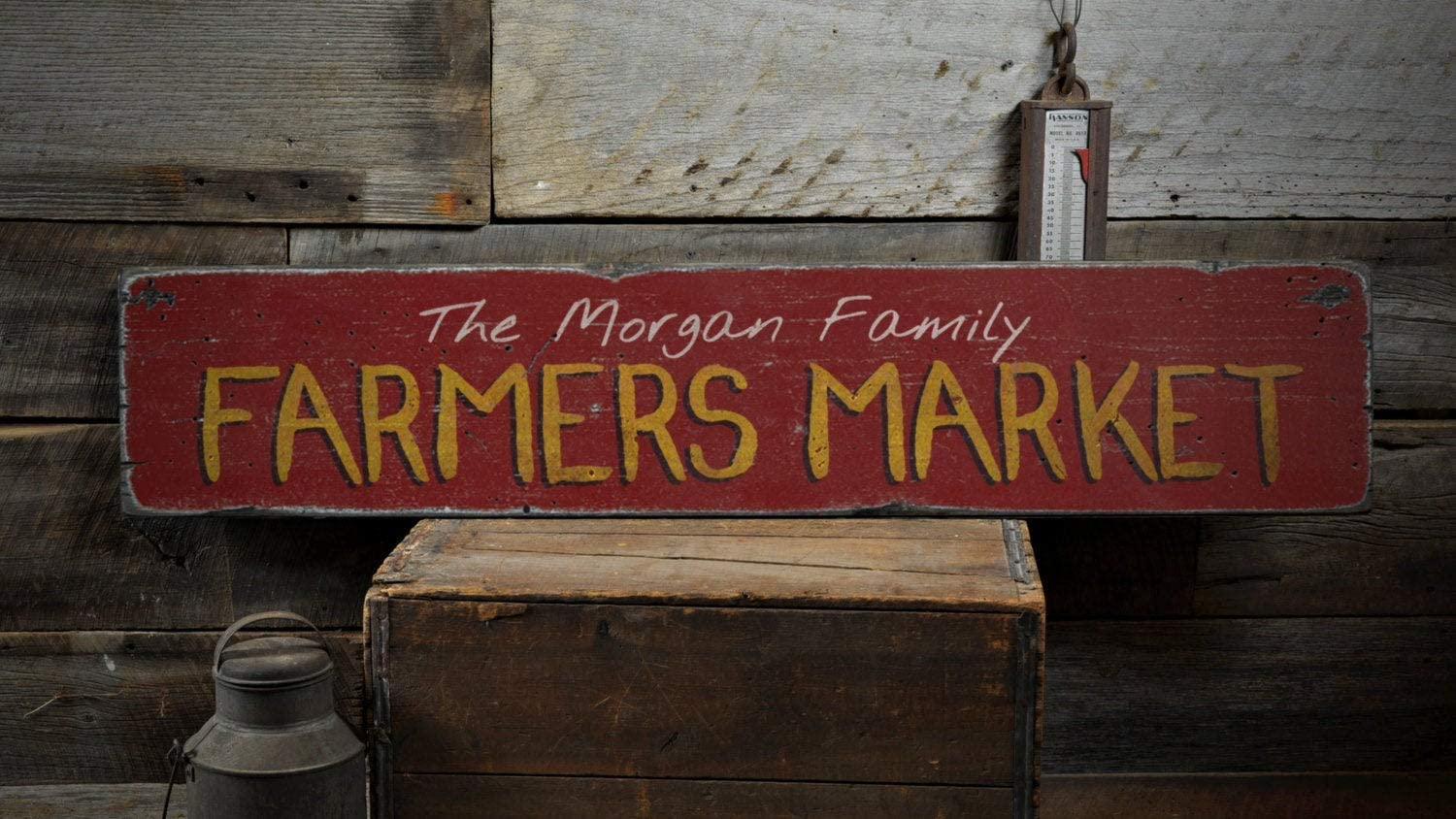 Tamengi Family Farmers Market Wood Sign, Custom Last Name Produce Stand Lover Gift, Kitchen Home Decor - Rustic Hand Made Vintage Wooden Sign Home Decor,Produced in The U.S.