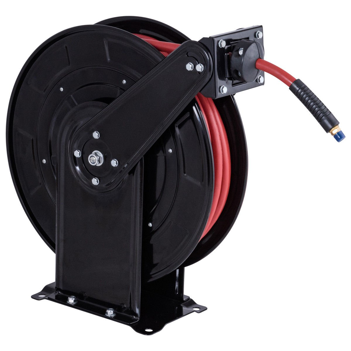 Goplus Steel Air Hose Reel with Retractable 3/8 x 65' Rubber Hose, Heavy Duty and High Pressure, Max. 300 PSI