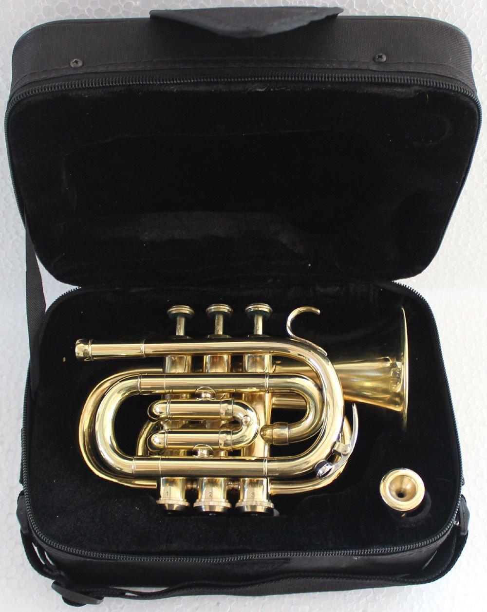 PoTr-05, Pocket Trumpet, Bb, Brass BEST SOUND AND WITH CASE SCX836 by SHREYAS