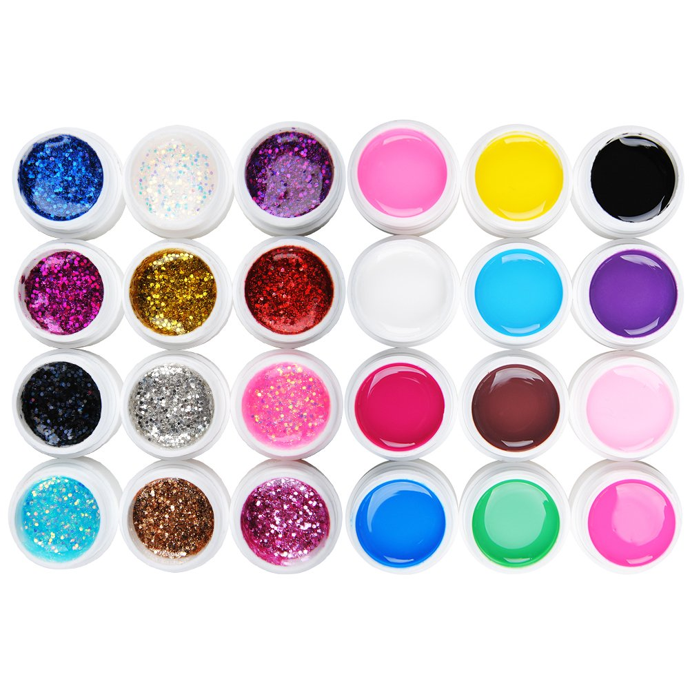 Coscelia 24 PCS Color UV Gel Tranperant Mix Color Nail Gel UV Glitter Builder Acrylic Set for Nail Art Color UV Gel Nail Art Paint UV Gel