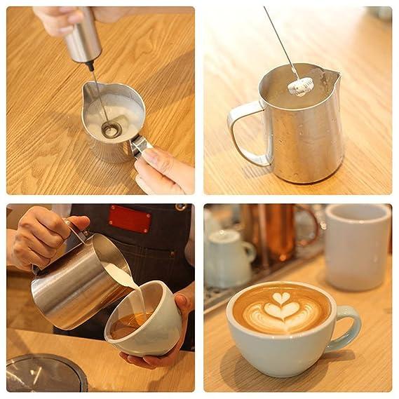 Batidora eléctrica de acero inoxidable para café, batidor de mano con doble resorte, potente, de espuma, un toque, batería de mano double spring whisk head ...