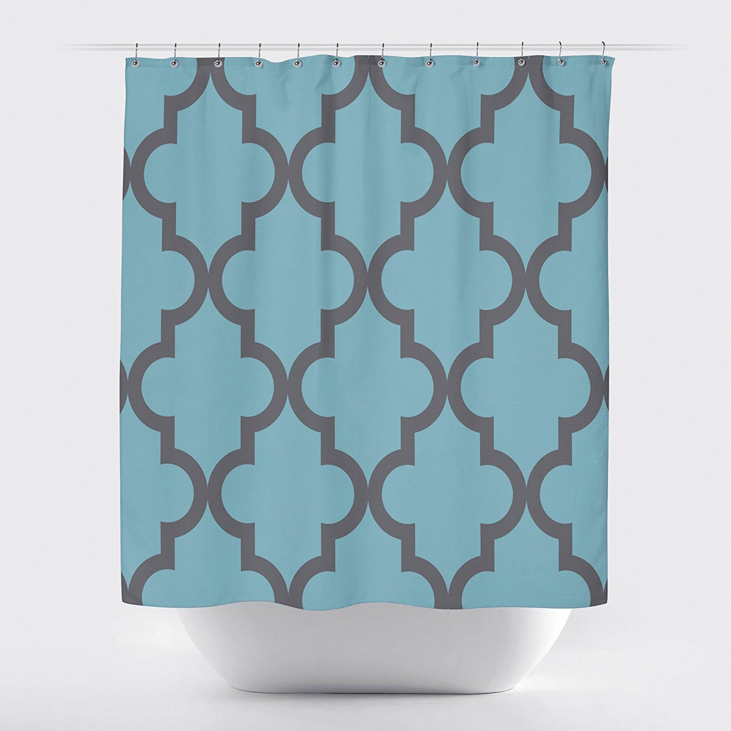 Amazon Studios Scalloped Shower CurtainLarge Gray On Light Blue By Crystal Emotion Home Kitchen