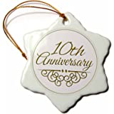 3dRose orn_154452_1 10th Anniversary Gift Gold Text for Celebrating Wedding Anniversaries 10 Snowflake Porcelain Ornament, 3-Inch