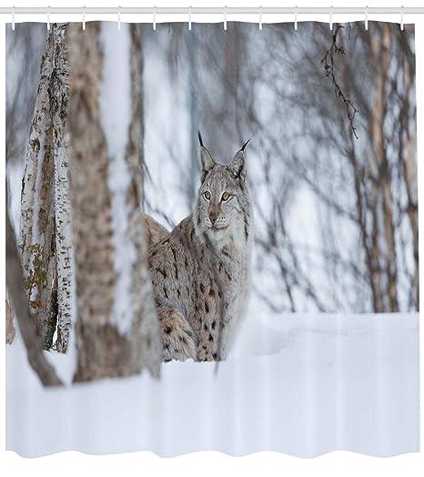 ABAKUHAUS Animal Cortina de Baño, Lynx Europea Desierto ...