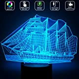 3D Boat Lamp, Optical Illusion Night Light for Nursery / Decor / Bedroom, 7 Colors Changing Saliing Boat Toys and Gifts for Kids / Birthday by YKL WORLD