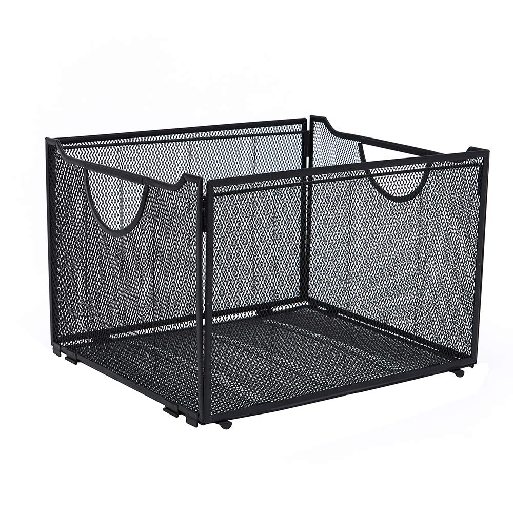 Liry Products Black Metal Mesh File Organizer Storage Basket Bin Folder Holder Rack Storage Crate Foldable Collapsible with Handle Letter Size Container Desktop Home Office
