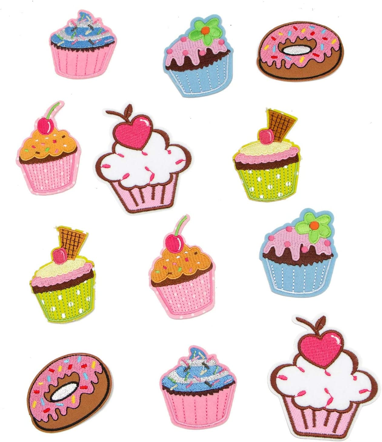 JETEHO 12Pack Ice Cream Fabric Patches Sticker Cartoon Embroidered Donut Patches for Iron On Sewing Kids Clothing