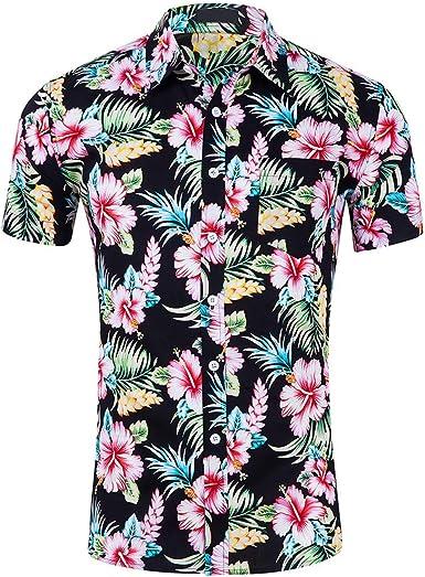 Men Printed Blouse Casual Short Sleeve Slim Beach Shirts Tops Male Clothing Floral Shirt Men