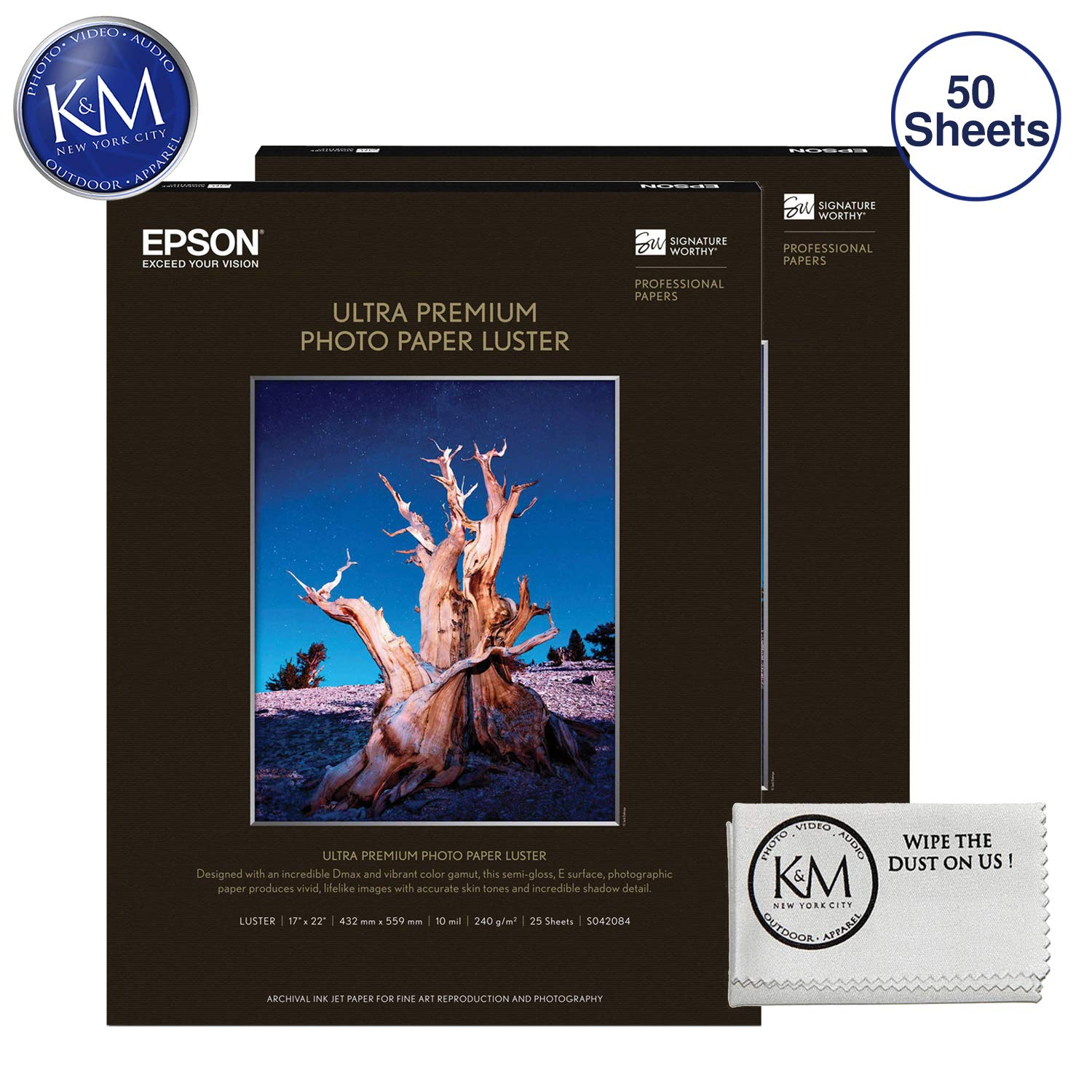 Epson Ultra Premium Photo Paper Luster 17 x 22'' 2 Pack (50 Sheets) & Cloth