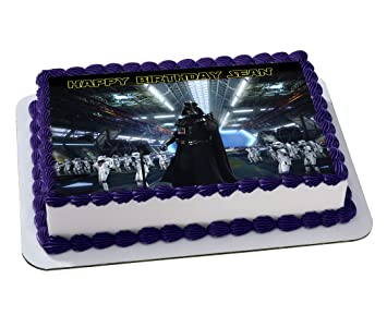Darth Vader Star Wars Quarter Sheet Edible Photo Birthday Cake Topper. ~ Personalized! 1/4 Sheet