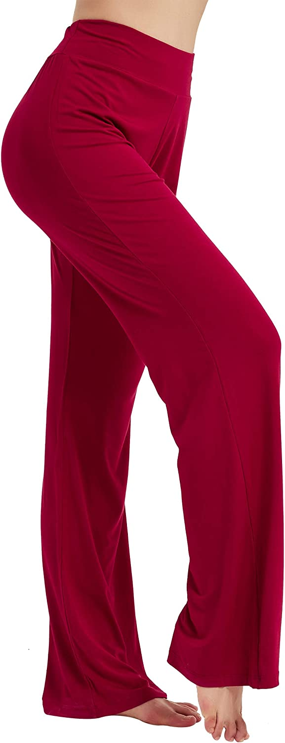 CGTL Long Yoga Pants for The Office, Women's Boot Cut High Waisted Flare Wide Leg Pants, Workout Casual Pilates Pyjamas Trousers, Comfortable Loose Fit Petite Flared Leggings (Wine M)