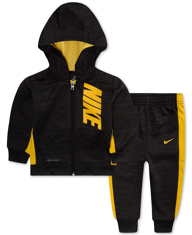 Nike Boy`s 2 Piece Therma-FIT Zip Hoodies & Pants Set (Black Heather(66D696-K08)/Yellow, 12 Months)
