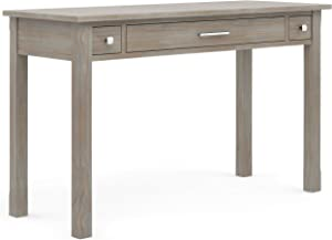 SIMPLIHOME Avalon SOLID WOOD Contemporary Modern 47 inch Wide Home Office Desk, Writing Table, Workstation, Study Table Furniture in Distressed Grey with 2 Drawerss
