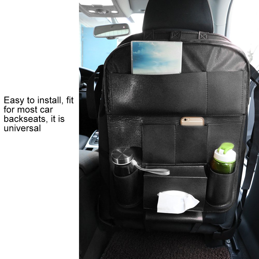 Black AOZBZ PU Leather Car Back Seat Storage Organizer with Tablet Holder Multi-Purpose Car Seat Organiser with 10 Pockets and Foldable Table Tray for Car Tidy