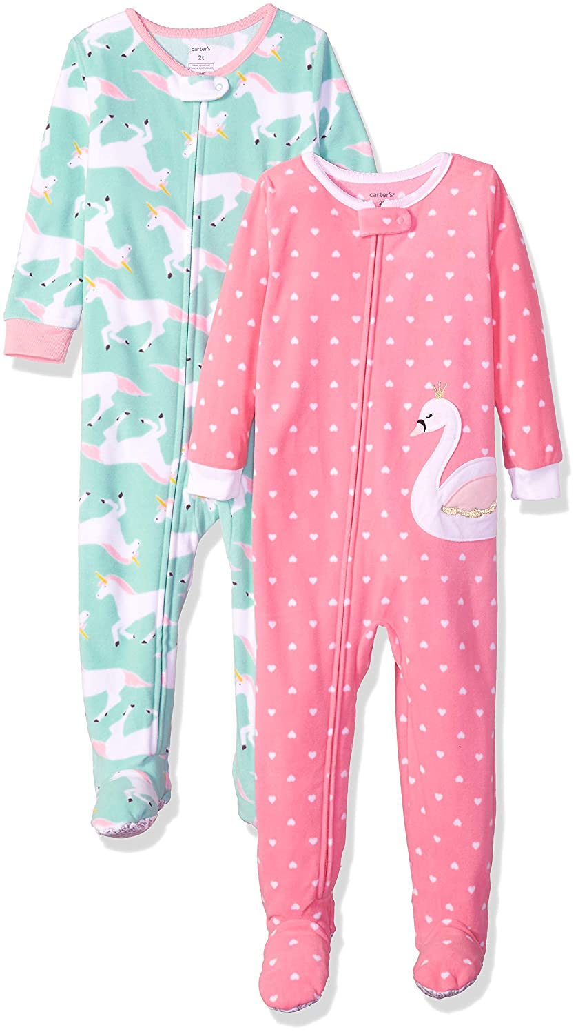 a74682481 Clothing Jumpsuits & Rompers Carters Baby and Toddler Girls 2-Pack Fleece  Footed Pajamas Carter's