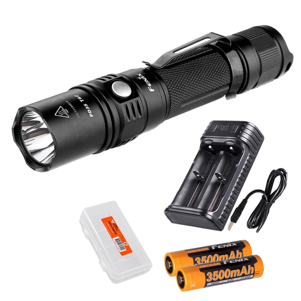 Ultimate Bundle: Fenix PD35TAC (PD35 Tactical) 1000 Lumens Cree XP-L Flashlight, 2x Fenix 3500mAh 18650 Batteries, Smart Charger, LumenTac Battery Organizer